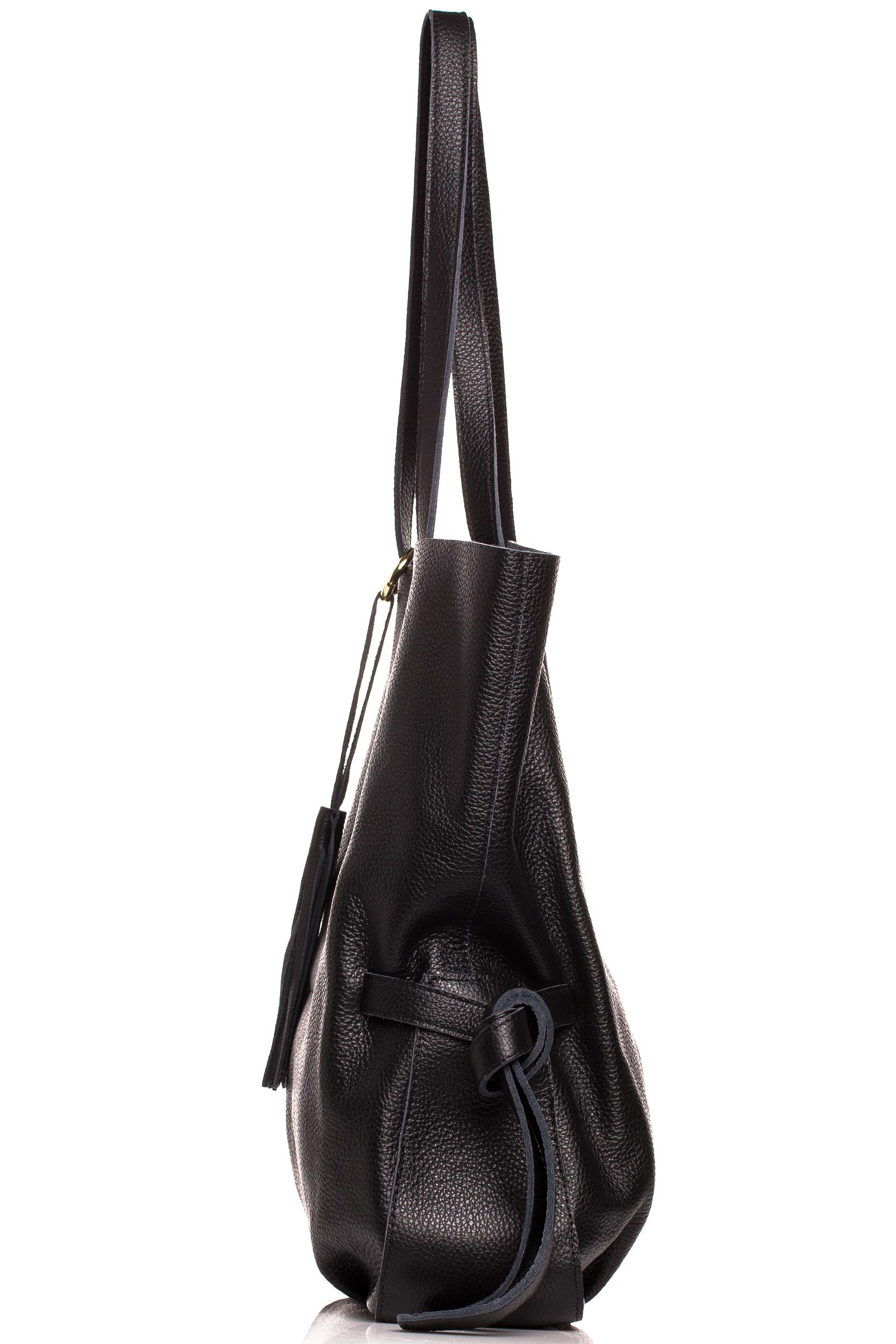 CM4613 Stylowa torebka z ozdobnymi frędzlami - czarna