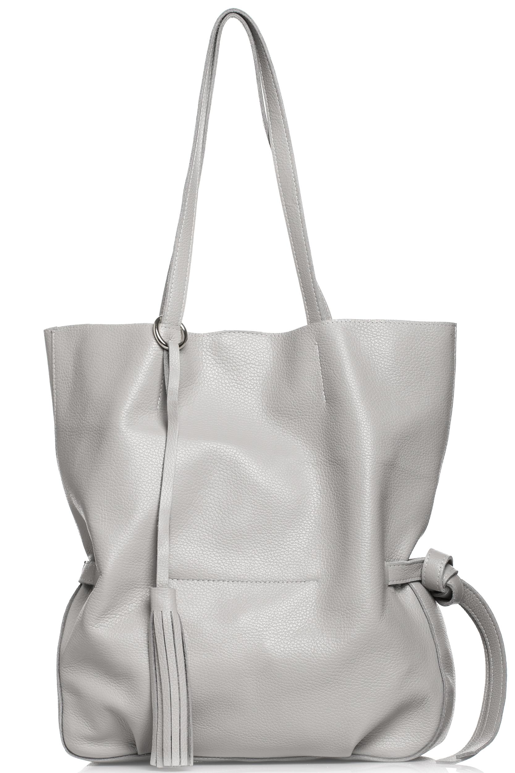 CM4613 Stylowa torebka z ozdobnymi frędzlami - szara