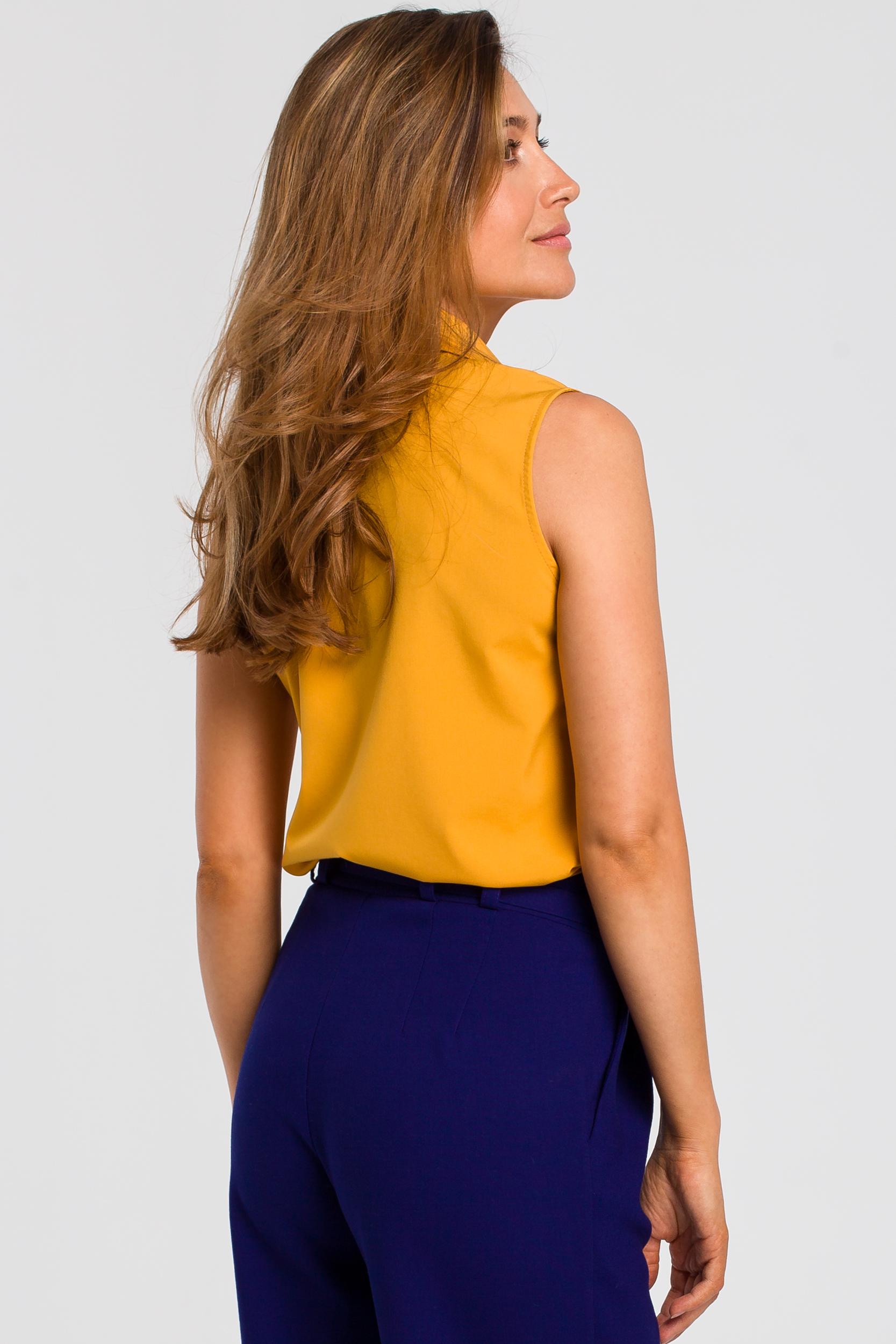 CM4634 Bluzka damska z kołnierzykiem bez rękawów - żółta