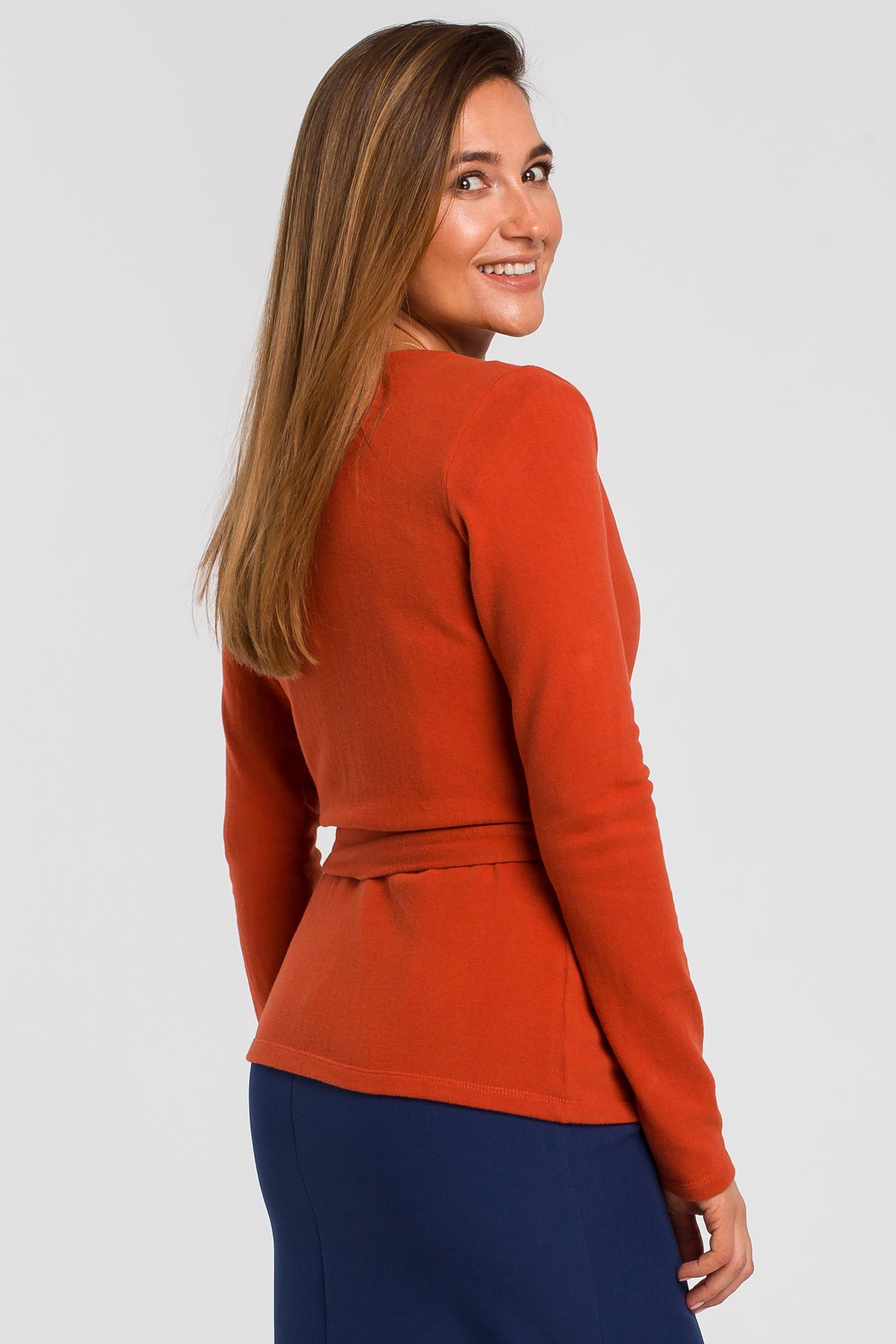 CM4635 Sweterek kopertowy wiązany na zakładkę - rudy