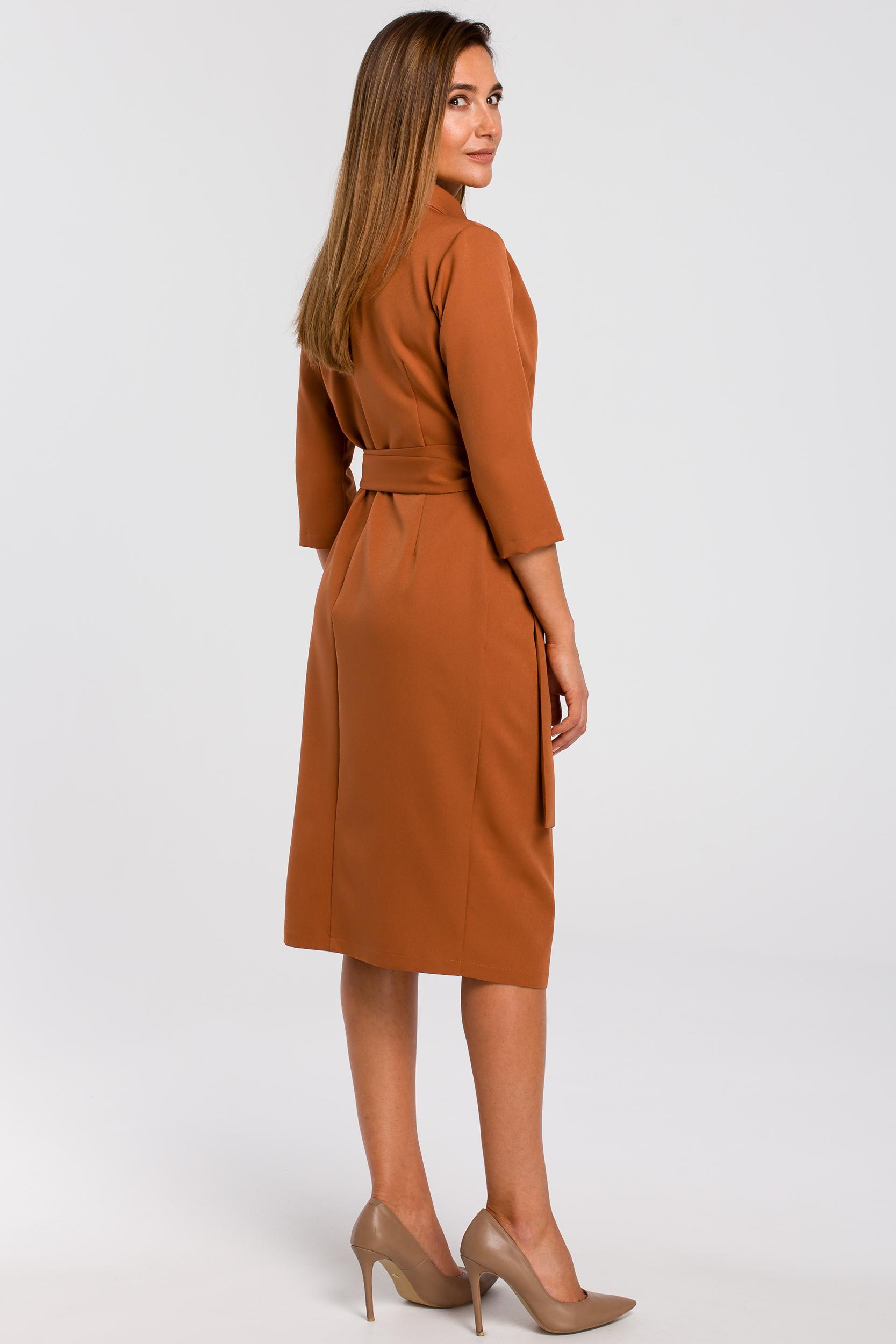 CM4637 Kopertowa sukienka z paskiem w talii - ruda