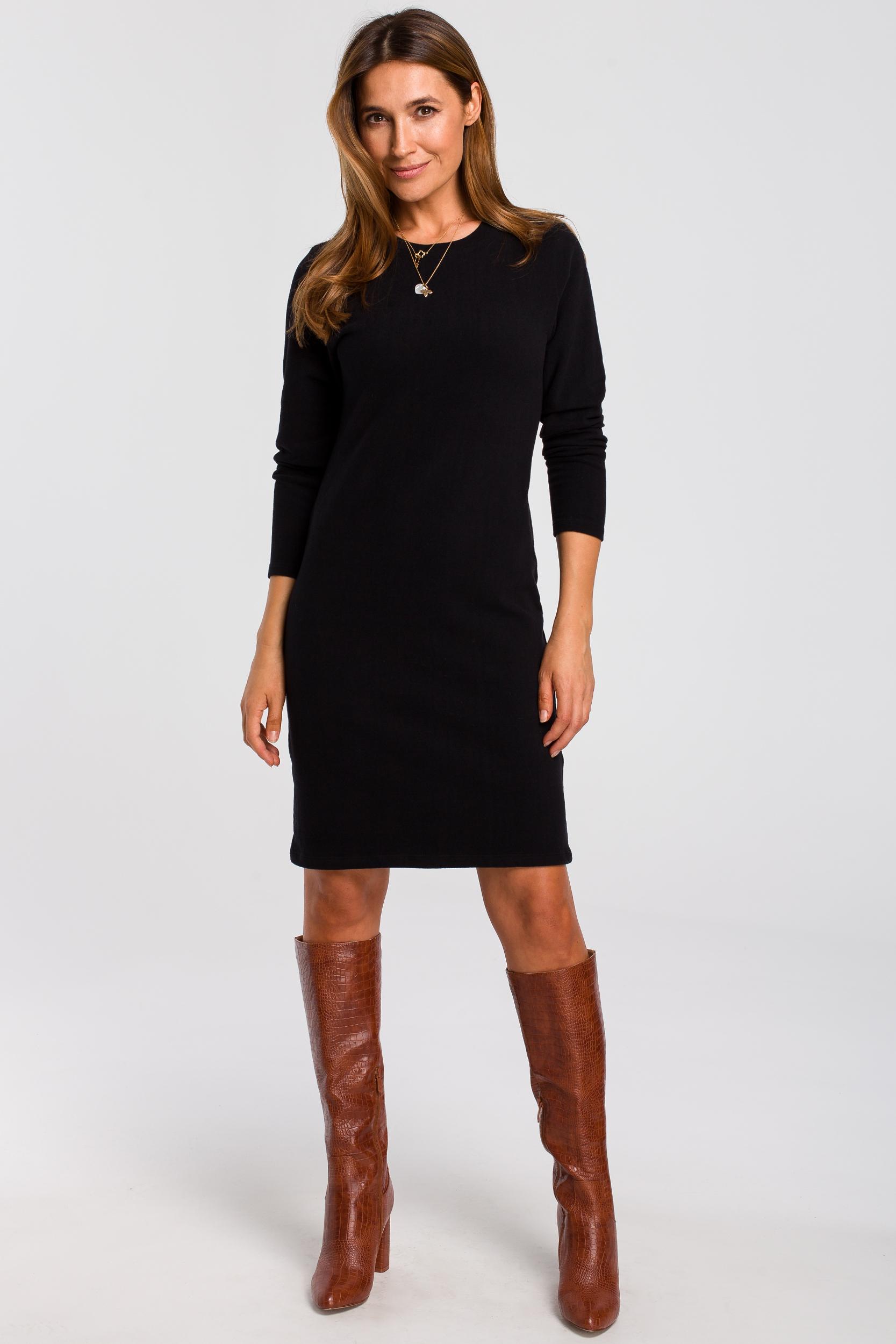 CM4640 Sukienka swetrowa z długim rękawem - czarna