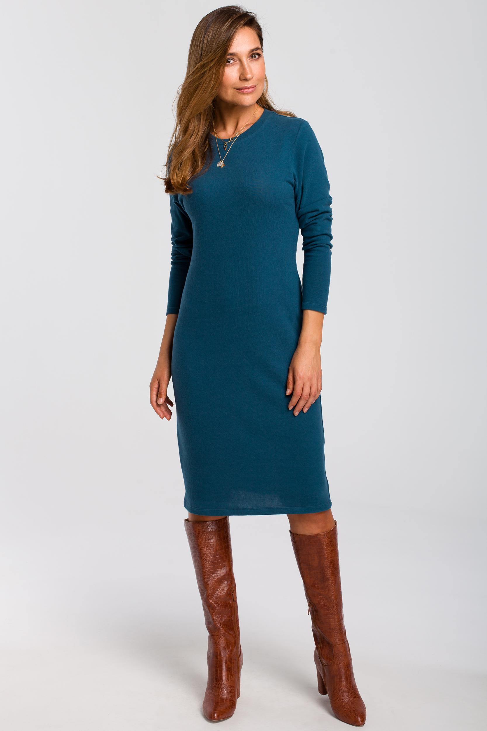 CM4640 Sukienka swetrowa z długim rękawem - morska