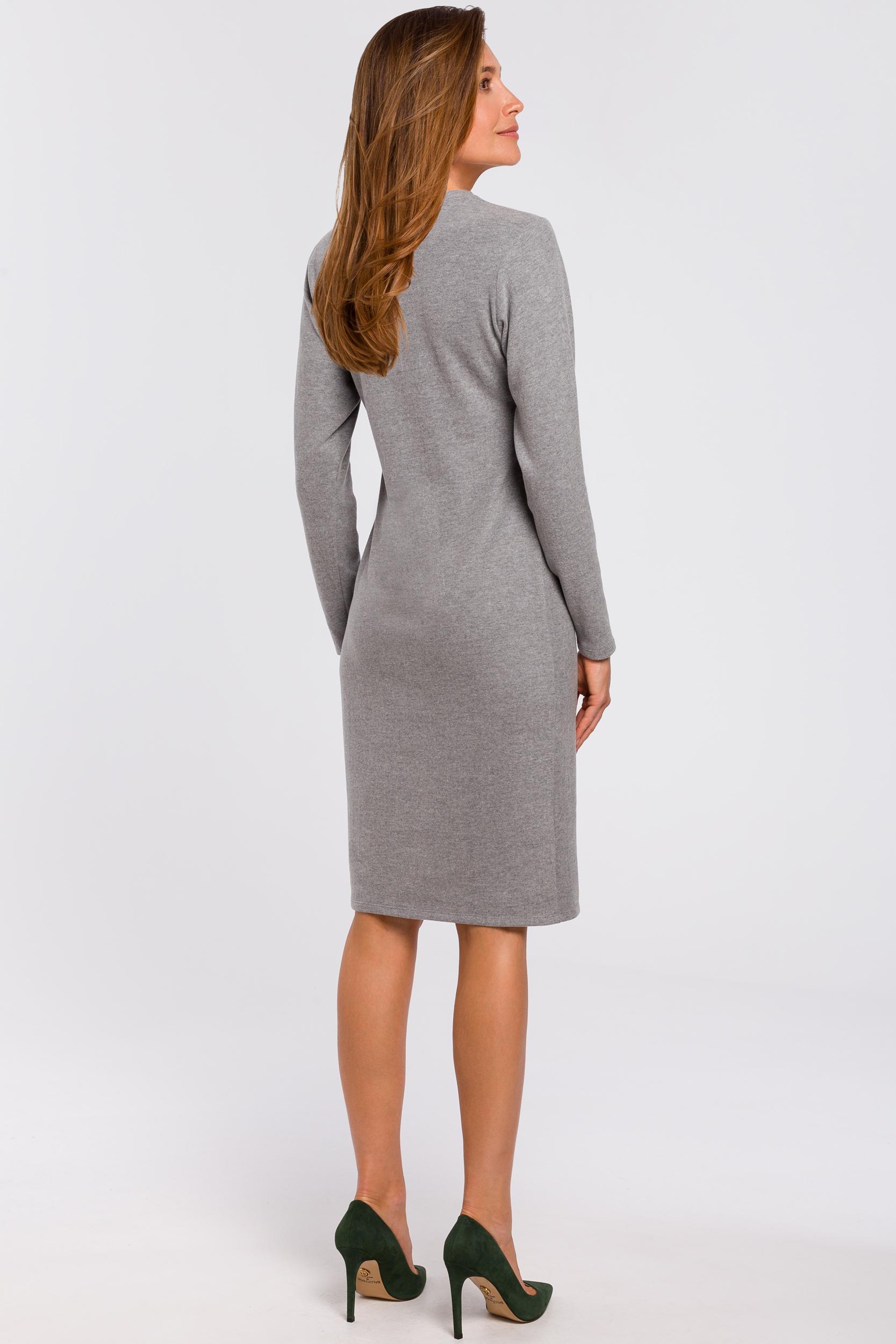 CM4640 Sukienka swetrowa z długim rękawem - szara