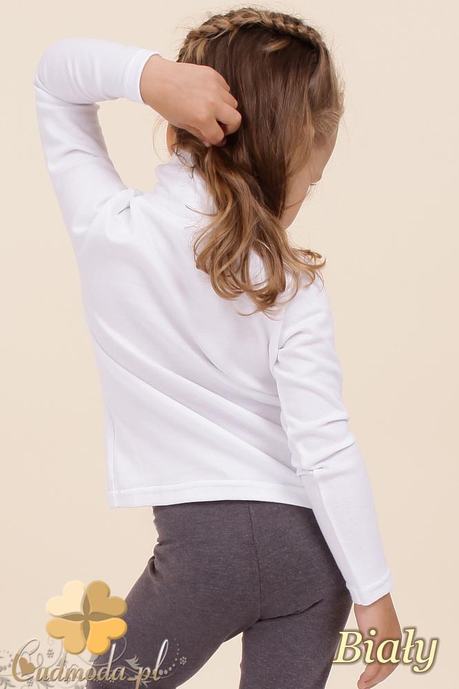 MA022 Dziecięca gładka bluzka golf z długim rękawem - biała