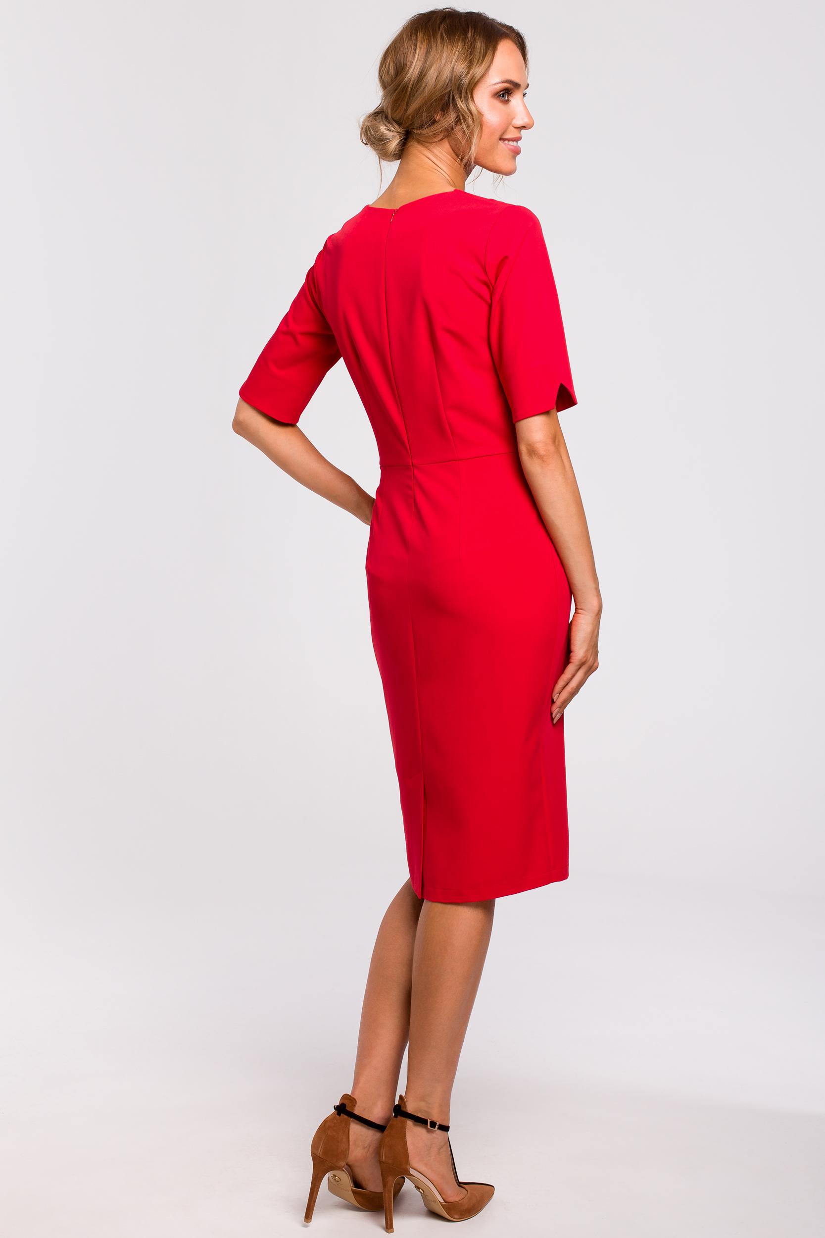 CM4773 Sukienka z dekoltem V - czerwona