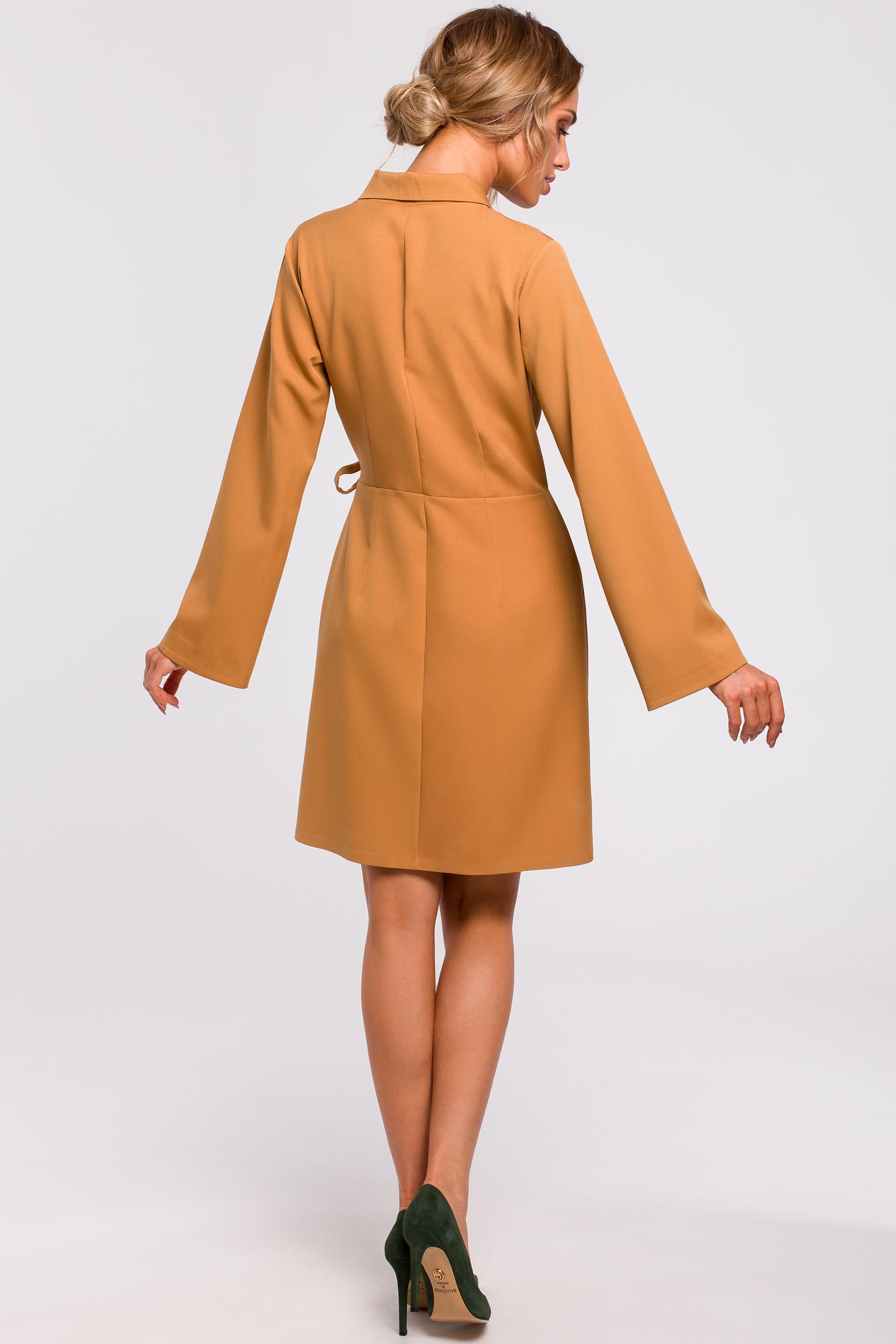 CM4780 Sukienka żakietowa z wiązaniem na boku - cynamonowa
