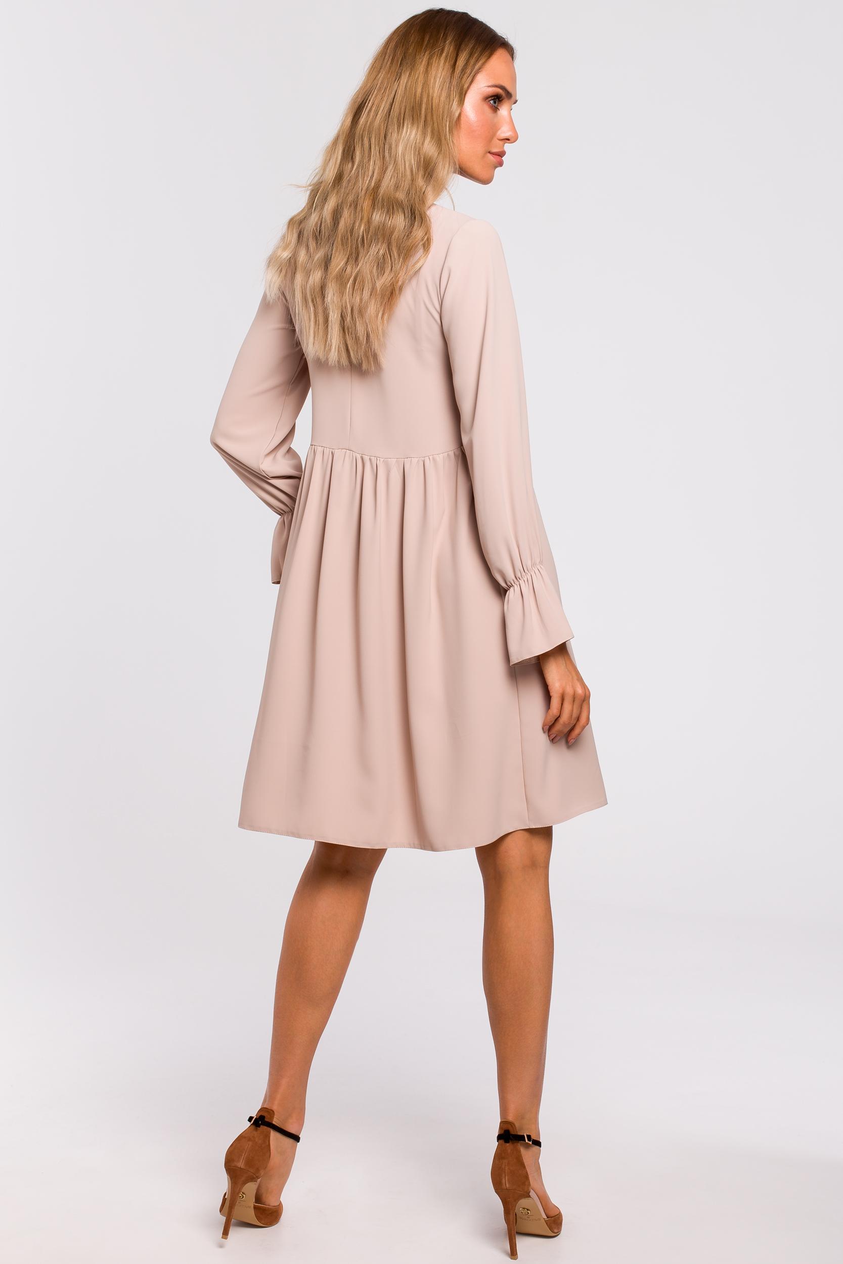 CM4783 Sukienka z rękawami i falbanką - beżowa