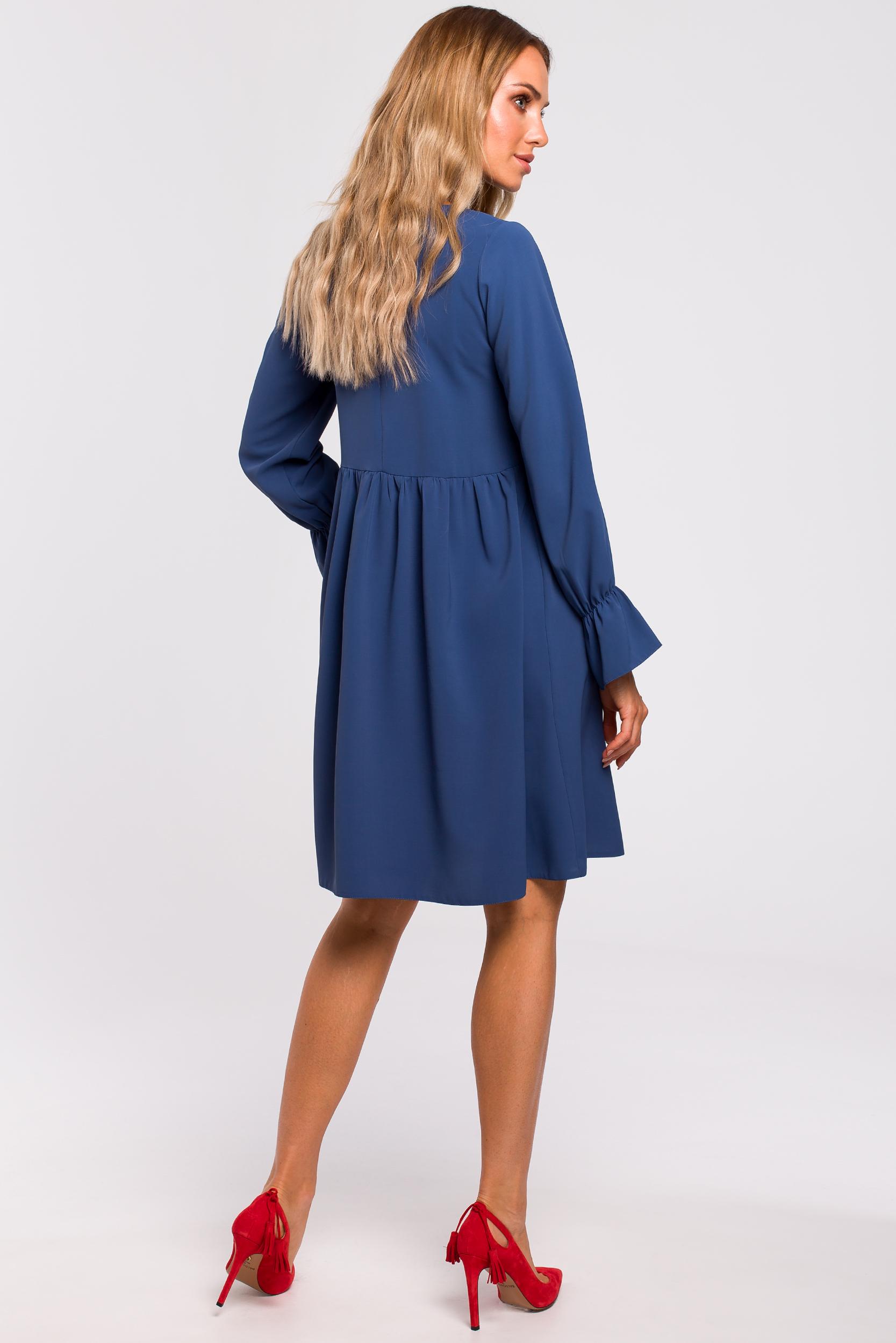 CM4783 Sukienka z rękawami i falbanką - niebieska