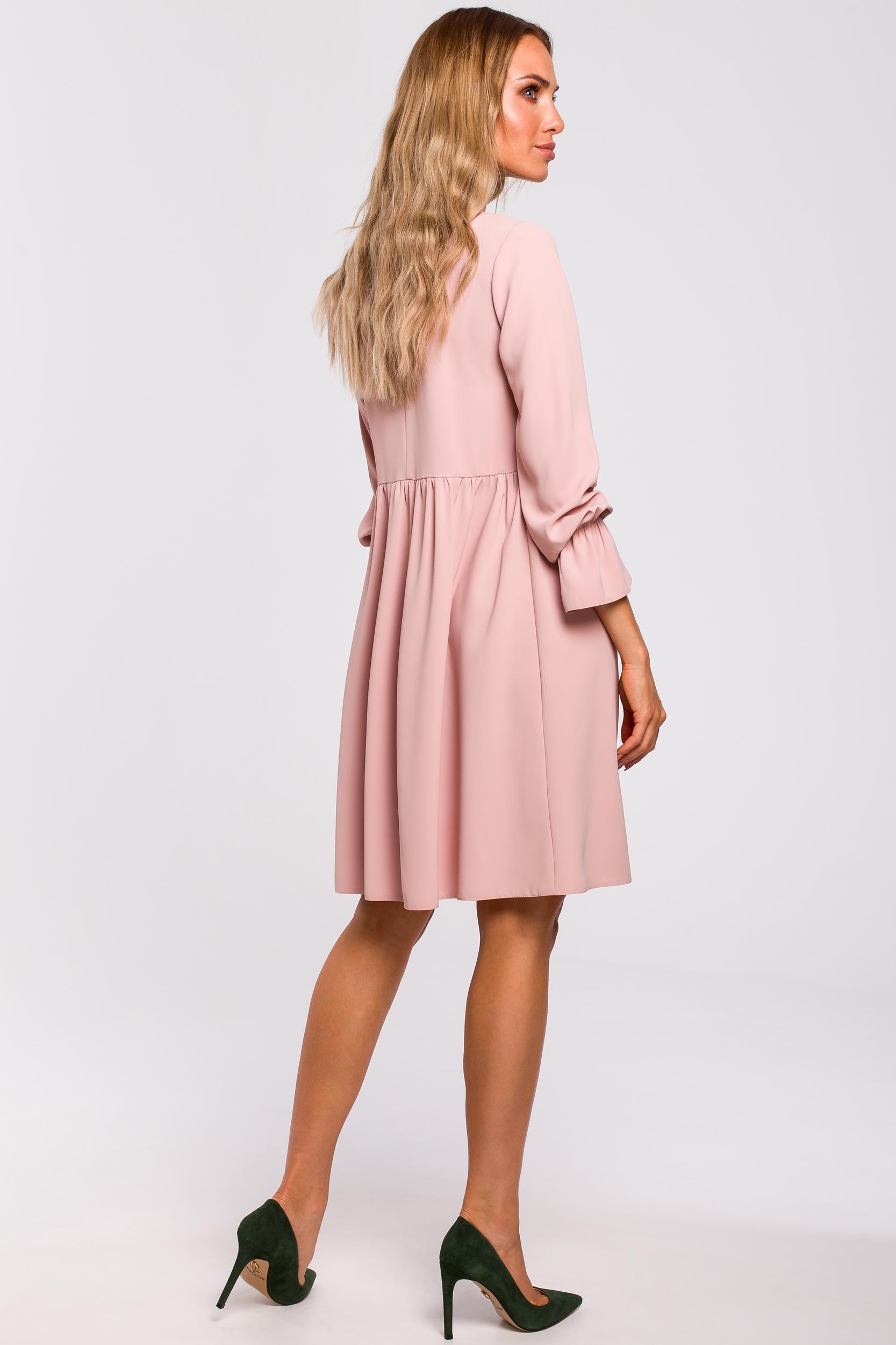 CM4783 Sukienka z rękawami i falbanką - pudrowa