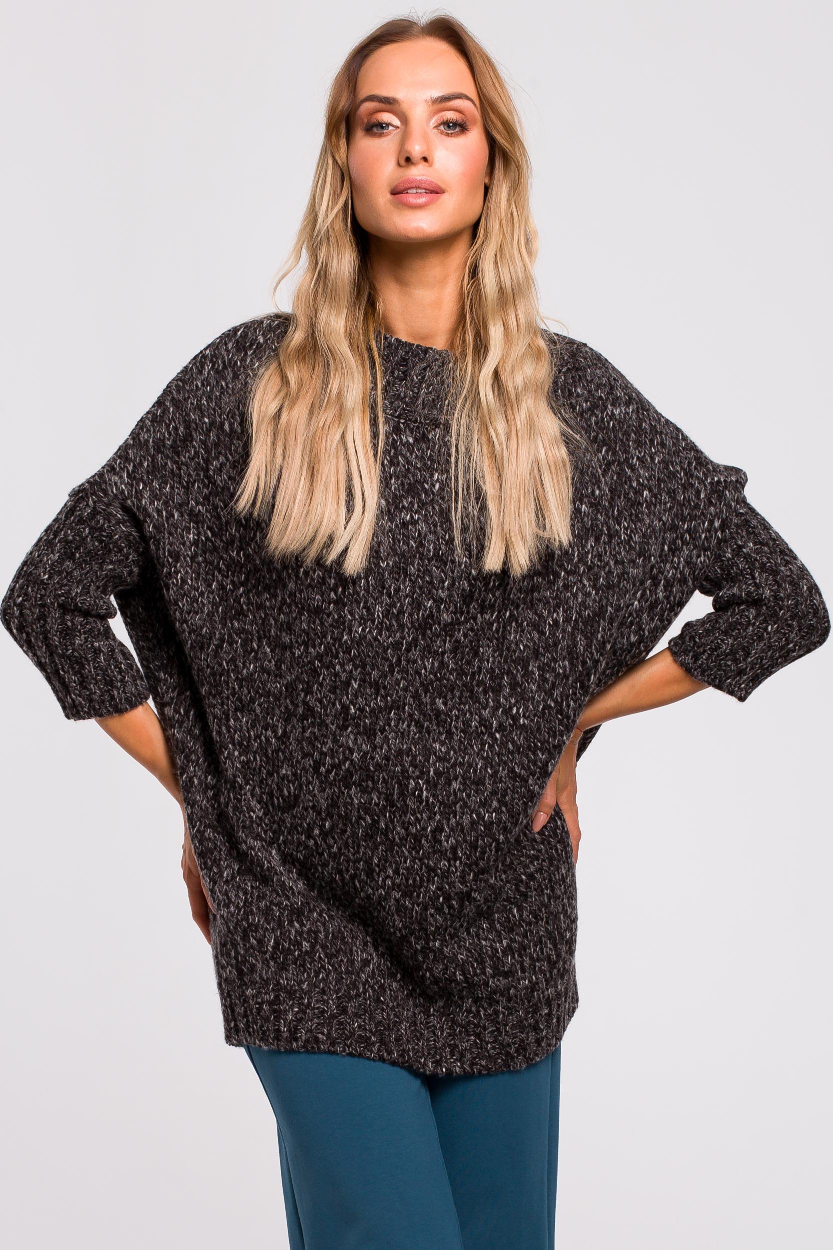 CM4788 Ciepły sweter z półgolfem - grafitowy