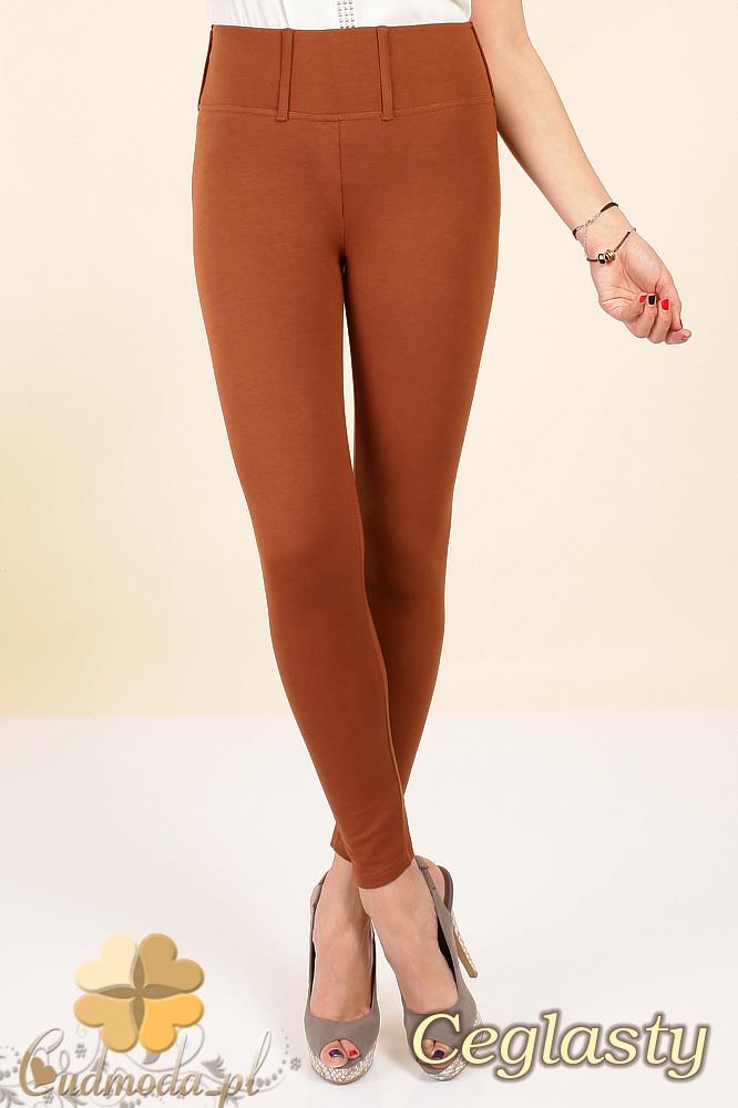 CM0035 Włoskie, klasyczne legginsy z wysokim stanem - ceglaste