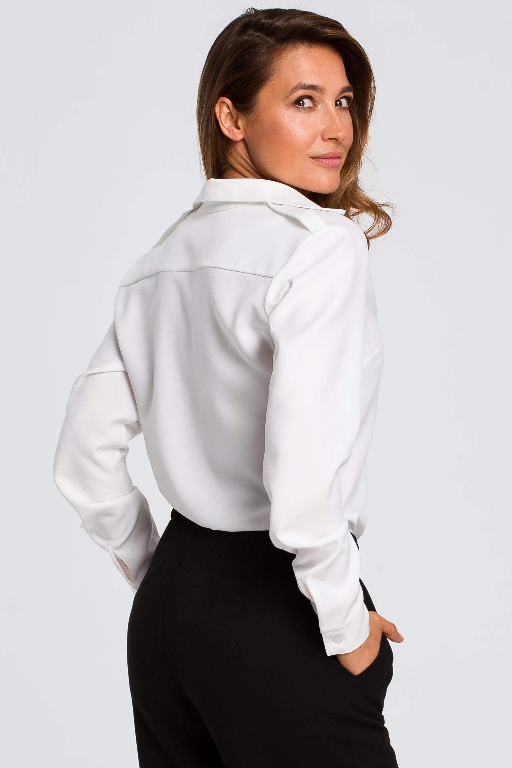 CM4794 Klasyczna koszula z długim rękawem - biały