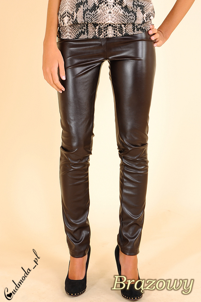 CM0029 Skórzane spodnie legginsy z kieszeniami -  brązowe