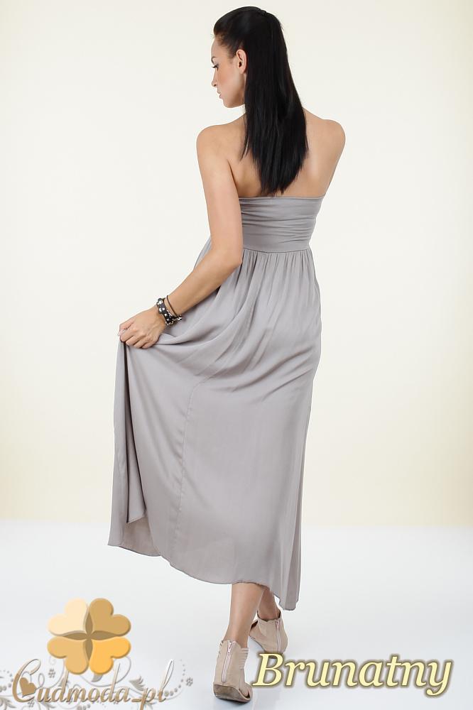 CM0296 Zwiewna gładka sukienka maxi - brunatna