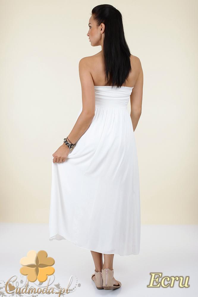 CM0296 Zwiewna gładka sukienka maxi - ecru