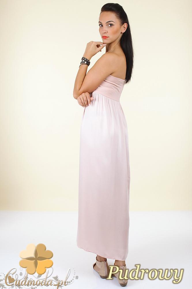 CM0296 Zwiewna gładka sukienka maxi - pudrowa
