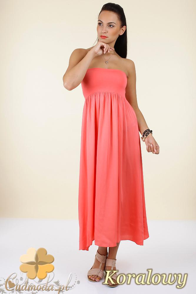 CM0296 Zwiewna gładka sukienka maxi - koralowa