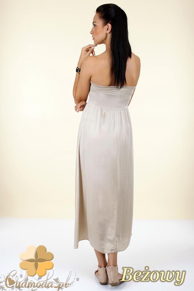 CM0296 Zwiewna gładka sukienka maxi - beżowa