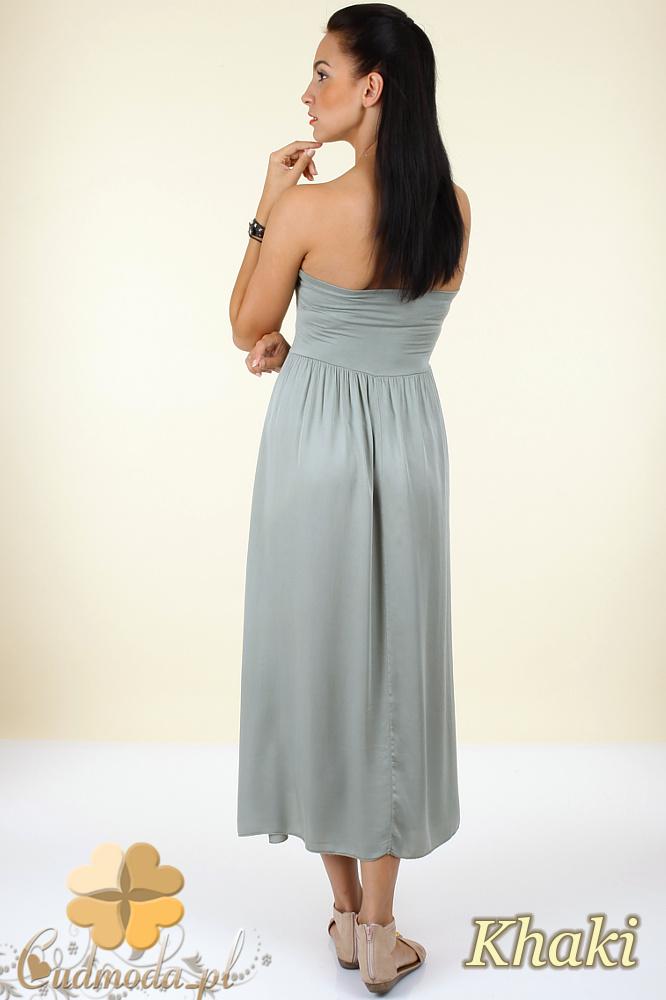 CM0296 Ciążowa zwiewna gładka sukienka maxi