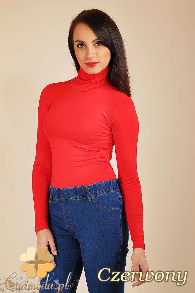 CM0016 Gładki golf damski z długim rękawem - czerwony