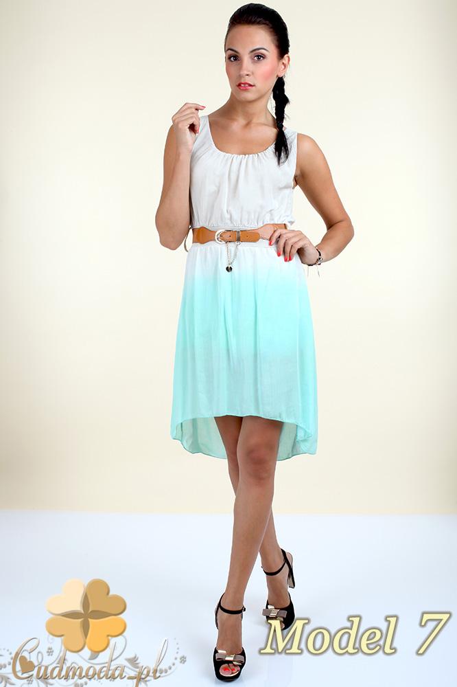 CM0300 Zwiewna cieniowana sukienka pasek gratis - model 7