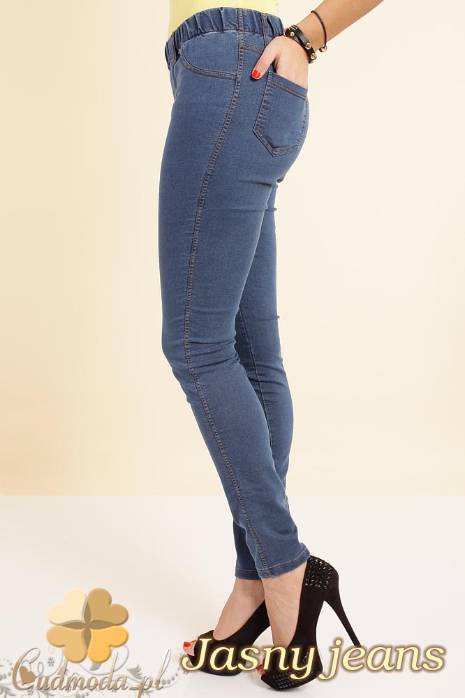 CM0132 Legginsy jeans z kieszeniami - jasno jeansowe OUTLET