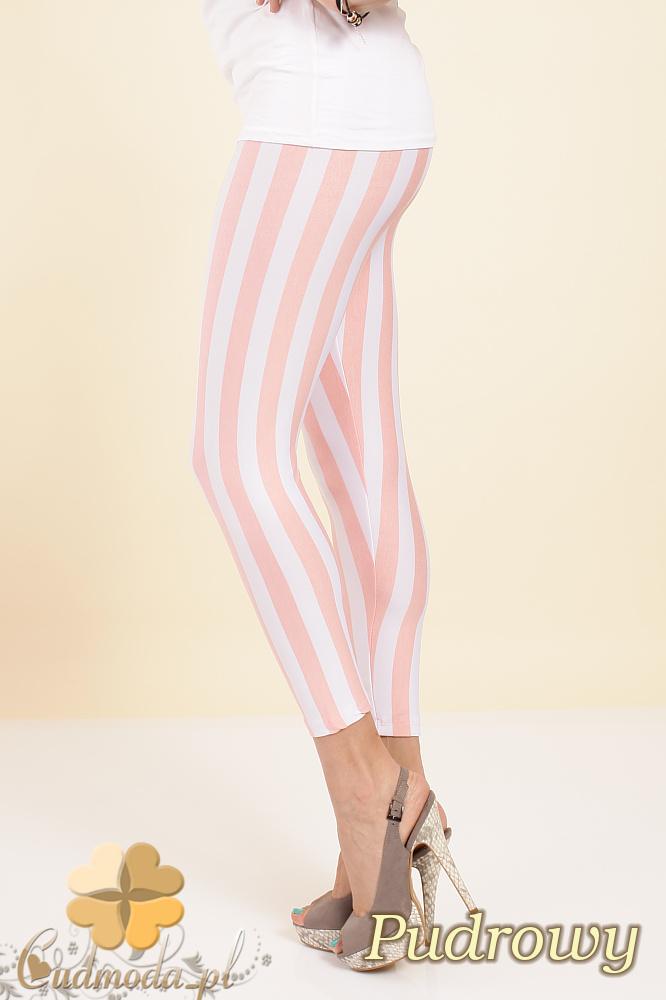 CM0246 Modne legginsy getry w pionowe paski - pudrowe