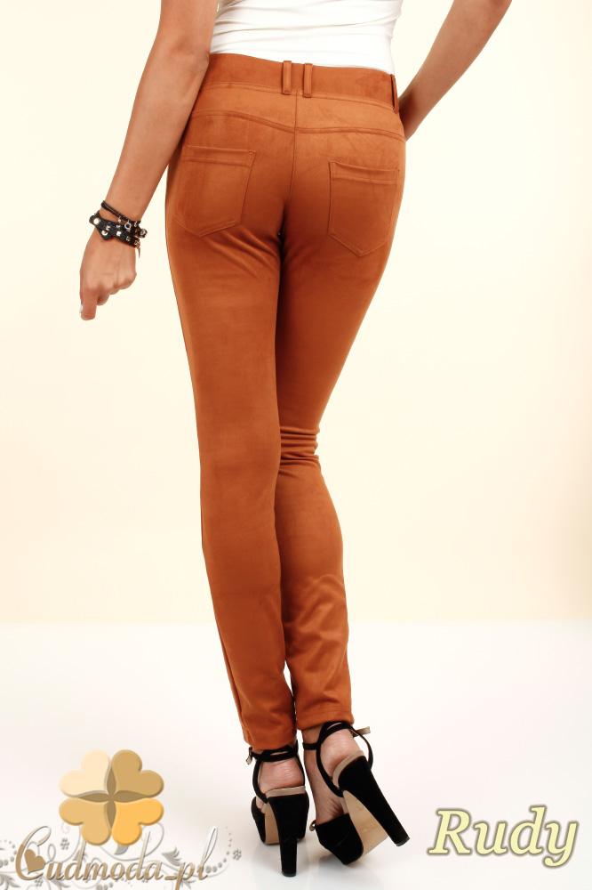 CM0133 Włoskie spodnie rurki  legginsy z zamszu - rude