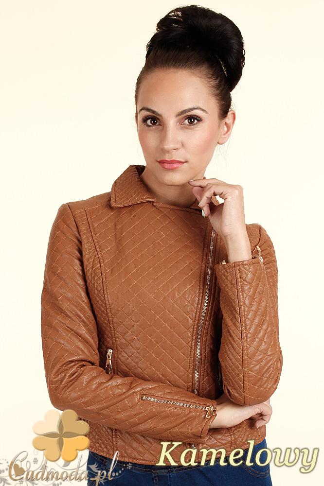 CM0313 Pikowana kurtka damska z ukośnym zamkiem -kamelowa