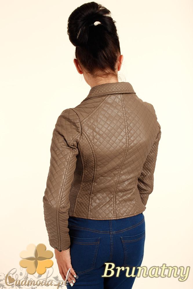 CM0313 Pikowana kurtka damska z ukośnym zamkiem - brunatna