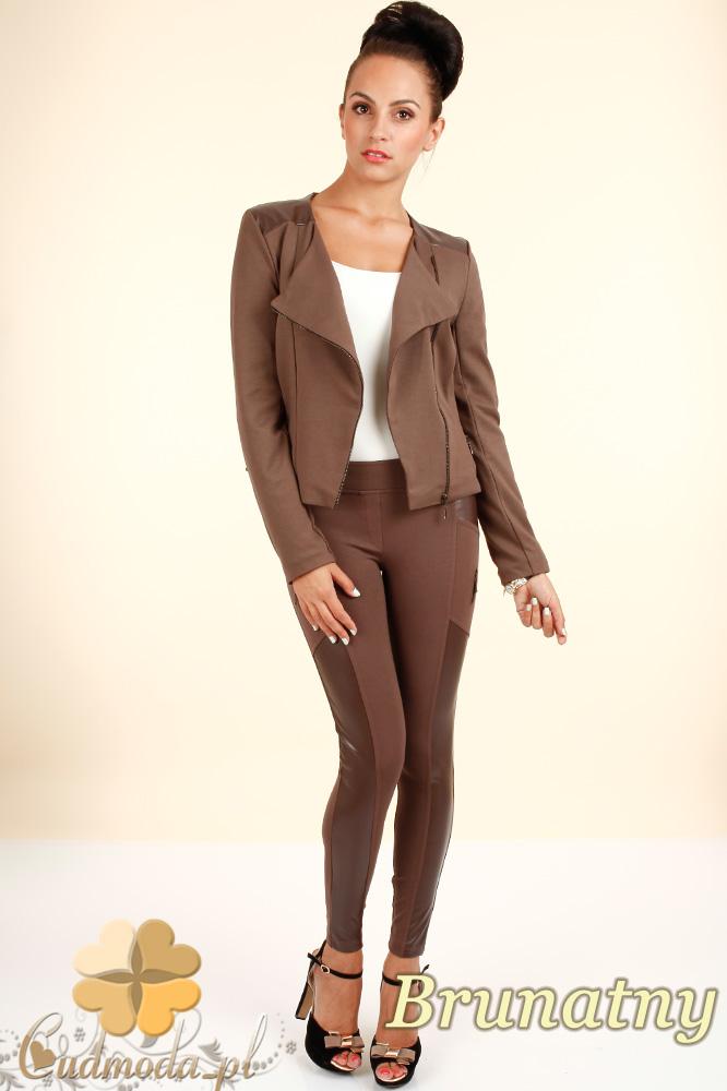 CM0301 Legginsy spodnie z zameczkami i wstawką ze skóry-brunatne