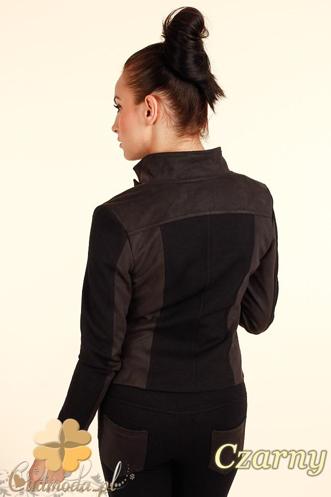 CM0318 Żakiet kurtka damska z zamszu - czarna
