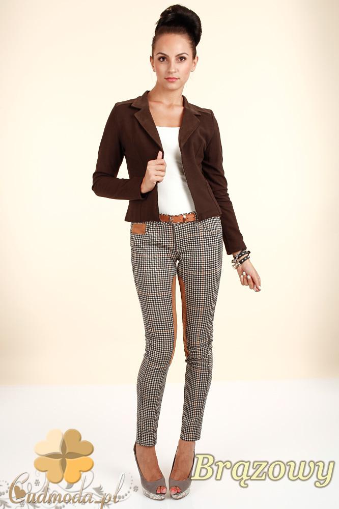 CM0318 Żakiet kurtka damska z zamszu - brązowy