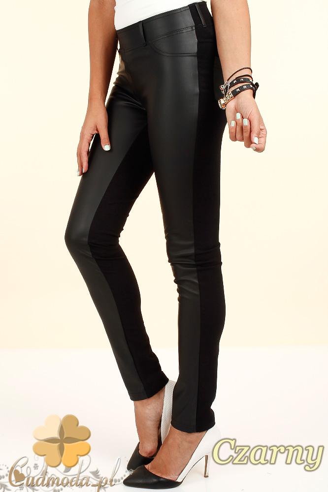 CM0309 Spodnie legginsy przód matowa skóra - czarne