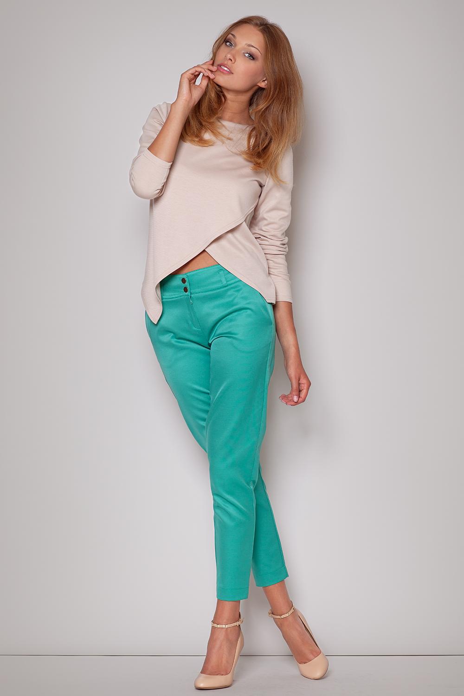 081bc1a2135c27 FIGL M210 Asymetryczna bluzka damska z długim rękawem -beżowa - Cudmoda