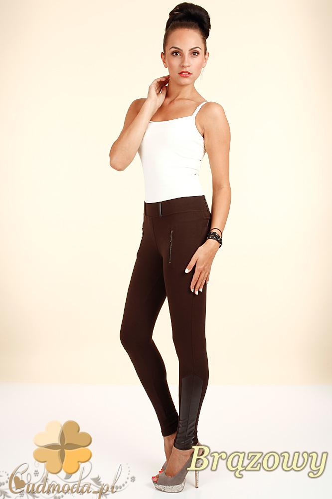 CM0302 Legginsy spodnie z ozdobną skórą i zameczkami - brązowe