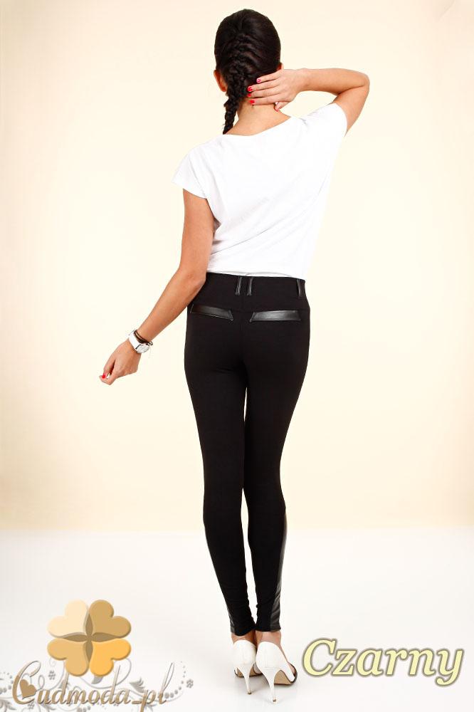 CM0302 Legginsy spodnie z ozdobną skórą i zameczkami - czarne
