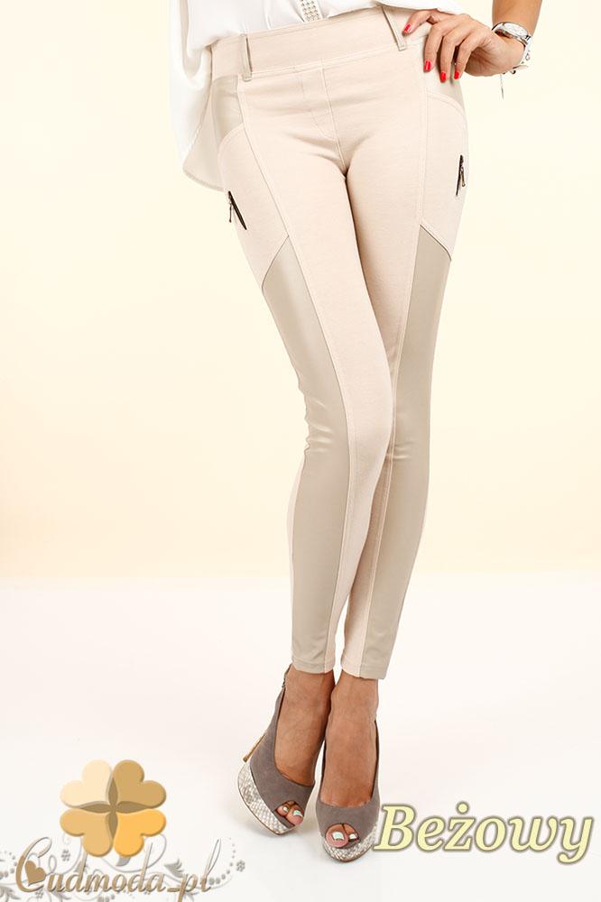 CM0301 Legginsy spodnie z zameczkami i wstawką ze skóry -  beżowe