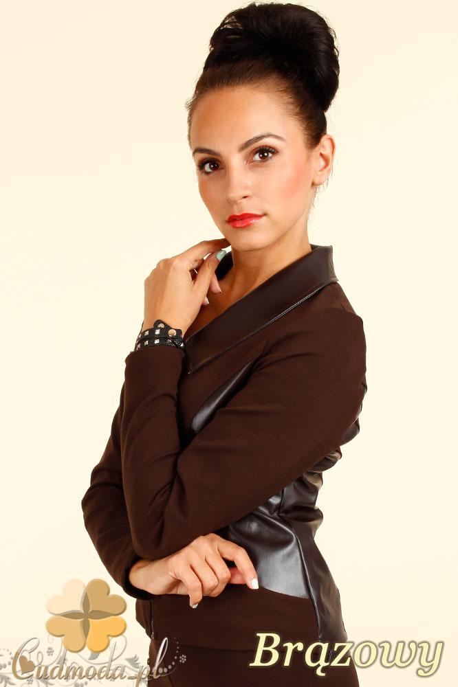 CM0314 Żakiet kurtka damska ze wstawkami ze skóry - brązowy
