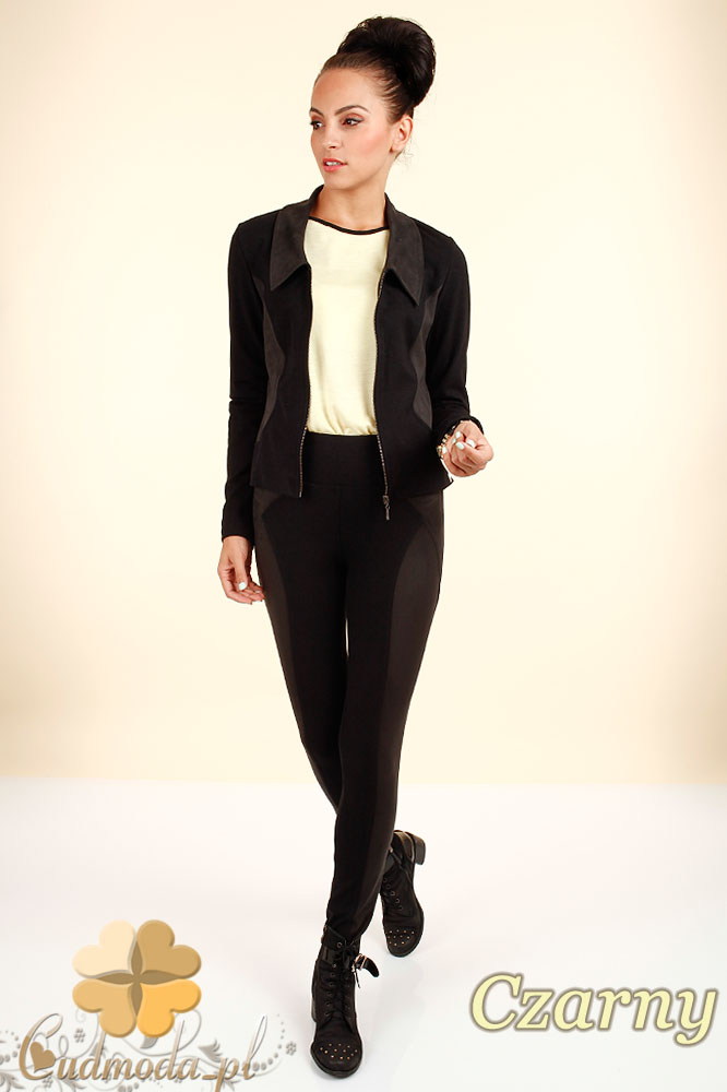 CM0323 Żakiet kurtka damska ze wstawkami z zamszu - czarny