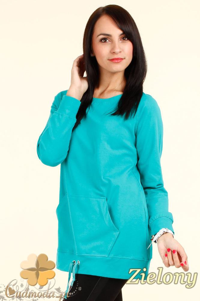 CM0337 Dresowa bluza damska z troczkami i kieszeniami - zielona