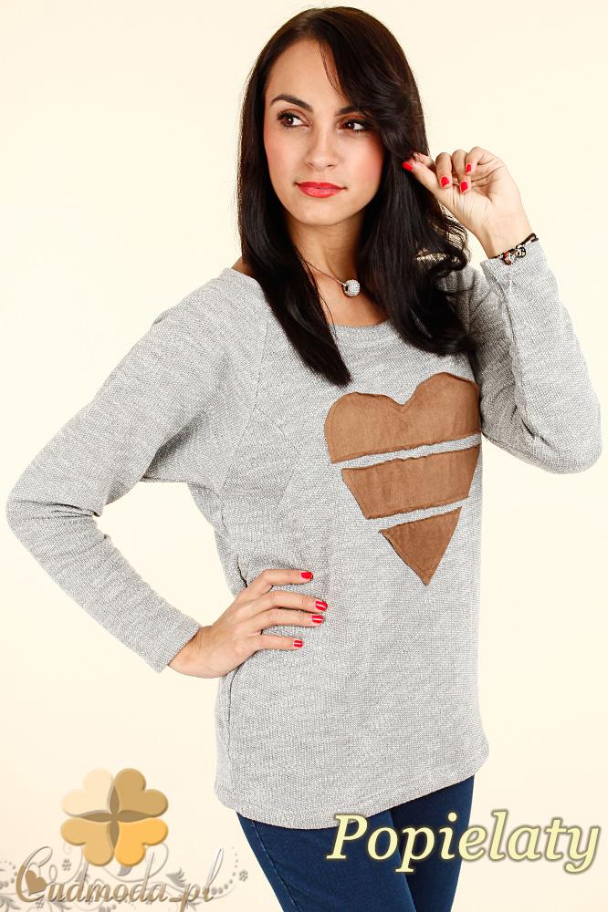 CM0343 Kobiecy sweterek z sercem - popielaty