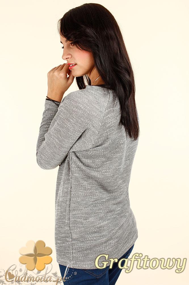 CM0343 Kobiecy sweterek z sercem - grafitowy