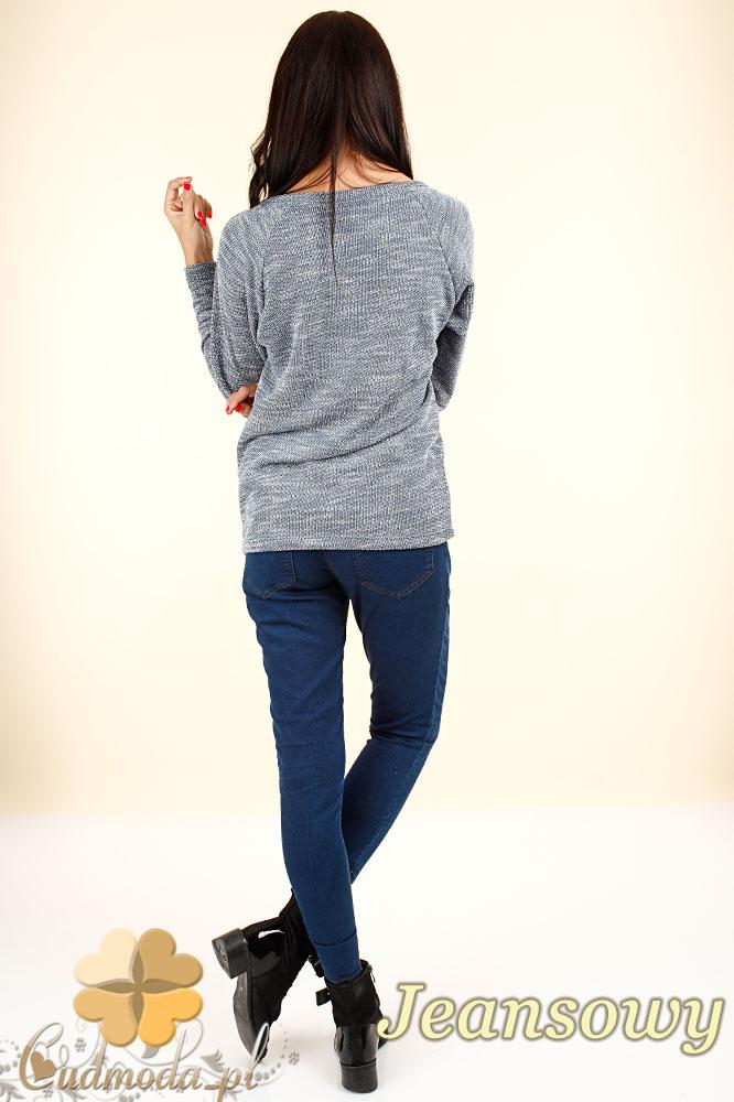CM0343 Kobiecy sweterek z sercem - jeansowy