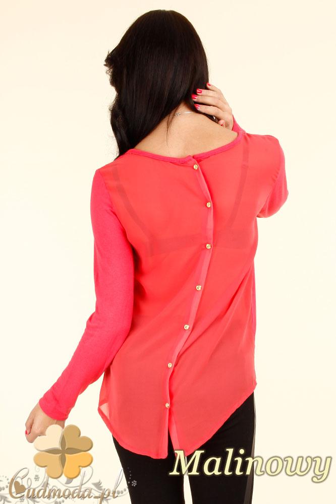 CM0344 Bluzka damska z szyfonowym tyłem i guziczkami - malinowa