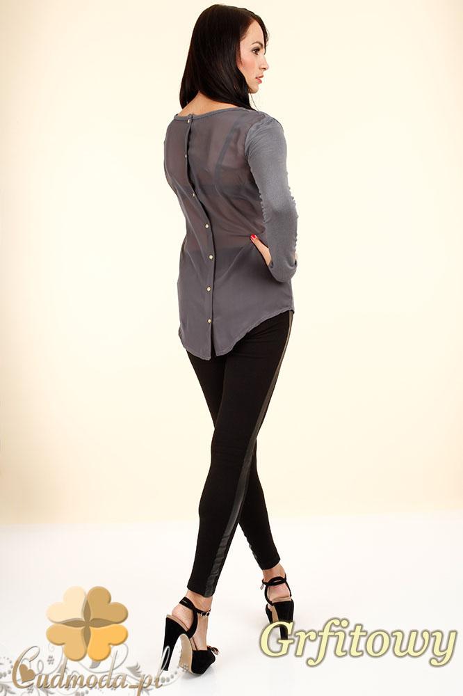 CM0344 Bluzka damska z szyfonowym tyłem i guziczkami - grafitowa