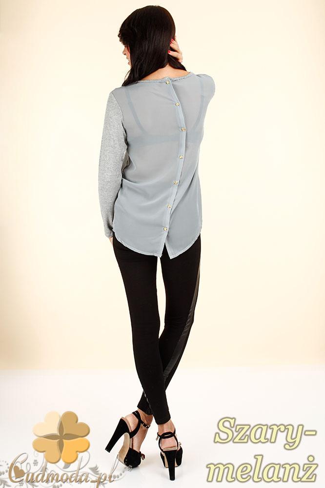 CM0344 Bluzka damska z szyfonowym tyłem i guziczkami - szary melanż