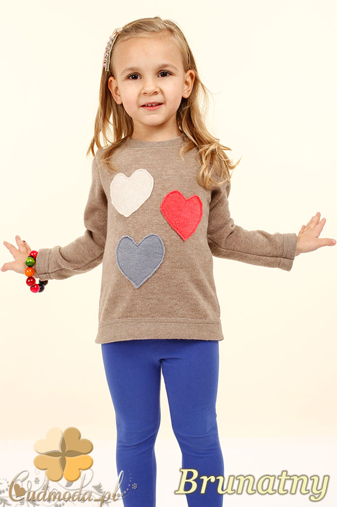 MA026 Dziewczęcy sweterek z sercami - brunatny