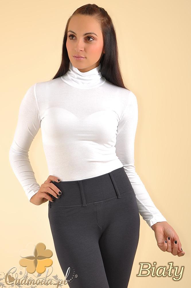 CM0016 Gładki golf damski z długim rękawem - biały
